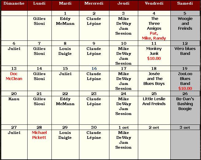 horaire septembre Pub Limoilou