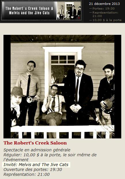 Robert's Creek Saloon Melvis Jive Cats